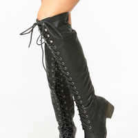 Black Over the Knee Military Lace Up Boot