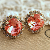 Pink peach Crystal stud Petite vintage earring - 14k plated gold post earrings real swarovski rhinestones .
