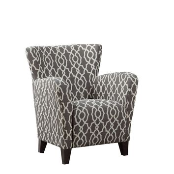 "Accent Chair - Brown "" Bell Pattern "" Fabric"