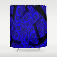 Cobalt Blue Fractal Abstract  Shower Curtain by RokinRonda