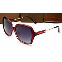 Gucci Personality Women Casual Sun Shades Eyeglasses Glasses Sunglasses Wine red Frame G
