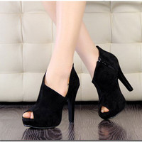 Fashion Sexy Fish Mouth Women's Super-High Heel Shoes Peep toe Platform Velvet