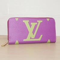 LV Louis Vuitton Classic Fashion Women Leather Tote Zipper Wallet Purse Purple