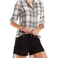 Ivory Combo High-Low Button-Up Plaid Top by Charlotte Russe
