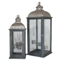 All That Glimmers - S/2 Hanging Votive Lanterns - Silver