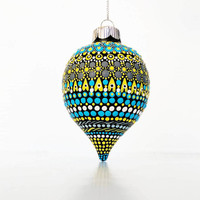 Ornament: Hand painted shatterproof Ornament dot Painting yellow and blue