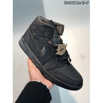 "NIKE Edison Chen x Air Jordan 1 Mid ""Fearless"" cheap Men's and women's nike shoes"