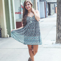 Aztec Babydoll Dress in Green