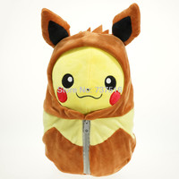 New Pokemon Center Open Eyes 8''&12'' Pikachu in Eevee Sleeping Bag Plush Doll Stuffed Toys
