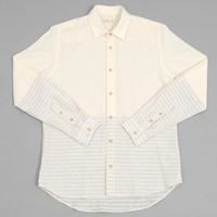 folk - tape shirt ecru   blue stitching