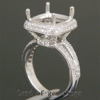 Diamond Engagement Semi Mount Ring 14K White Gold Setting Cushion 12mm