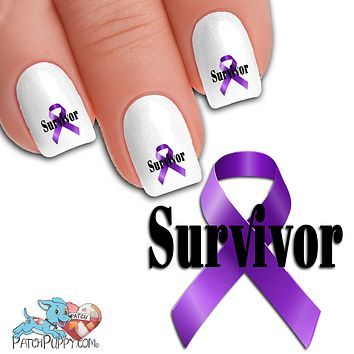 Purple Cancer awareness ribbon Survivor Nail Art Decals (Now! 50% more FREE)