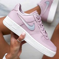 Nike Wmns Air Force 1 Jelly cream white liquid crystal hook classic wild casual sports shoes Pink