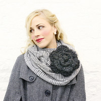 Gray White Houndstooth Infinity Scarf and Charcoal by mojospastyle