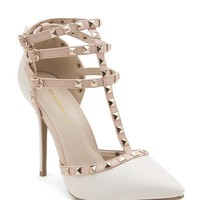 Adora 55 Pyramid Stud T Strap Ankle Strap Pointy