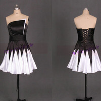 2014 short black and white satin homecoming dress,chic unique prom gowns hot,latest cheap dress for holiday party.