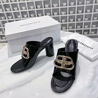 Balenciaga Fashion Trending Leather Women High Heels Shoes Women Sandals Heel