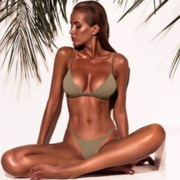 New women split solid color swimsuit sexy bikini Green