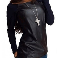 Black Faux Leather Raglan T-Shirt
