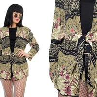 vintage 90s floral print jacket tie front slouchy leopard print duster jacket soft grunge gauzy small