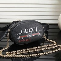 Gucci Waist Bag Chain Bag Women Fashion Leather Chain Waist Pack Satchel Shoulder Bag Crossbody B-MYJSY-BB Black