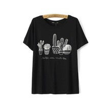 Cactus Embroidered T-Shirt - Black/White
