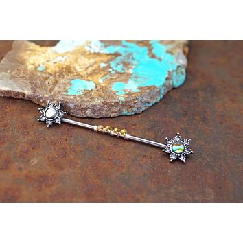 Abalone Shell Star Industrial Barbell 14g