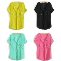 ZLCY Candy Colored Chiffon Shirts and Blouses for Women