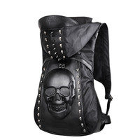 New 2016 Fashion Personality 3D skull leather backpack rivets skull backpack with Hood cap apparel bag cross bags hiphop man