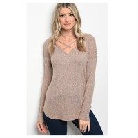 Always Adorable, V Neck Criss Cross Dusty Taupe Tunic Top