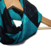 Chevron Infinity Scarf - infinity scarf teal chevron black chevron teal infinity scarf black infinity scarf scarves for women knit scarf