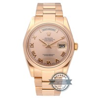 Rolex Day-Date Auto 36mm Everose Gold Ladies Oyster Bracelet Watch 118205