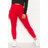 My Favorite Fleece Lined  Leggings Red