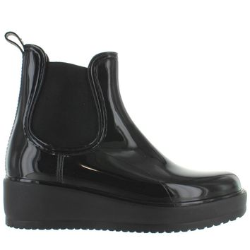 Kixters Jet - Black Patent Pull-On Platform/Wedge Rubber Rain Boot