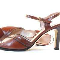 Vintage Brown Leather Shoes Peep Toe Heels - Womens Size 7 Shoes 1970s Strappy Pumps
