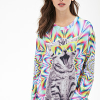 FOREVER 21 Kaleidoscope Cat Graphic Sweatshirt Green/Multi