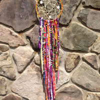 Bohemian dream catcher - colorful beaded string on a 7 inch hoop - hangs over 3 feet!