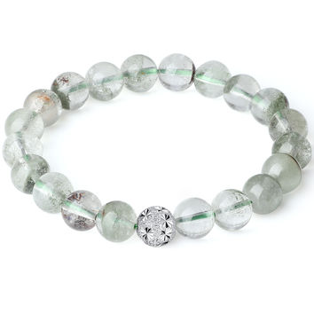 Sterling Silver Bead and Green Phantom Crystal Stretch Bracelet