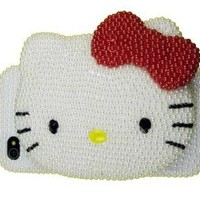 Hello Kitty Handmade BLING Case w/Snap Open Mirror made of Crystal & Faux Pearl Iphone 4 case/cover by Jersey Bling