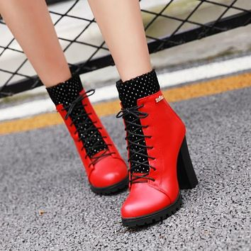 Mixed Color Lace Up Thick Heeled Platform Boots 3321