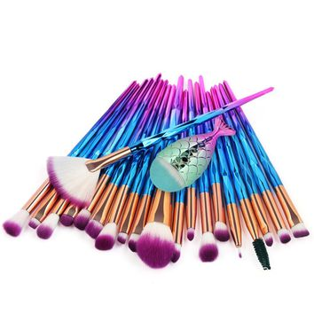 21 PCS Makeup Brush Set Mermaid Makeup Brush Foundation Brush Professional Makeup Brush Set