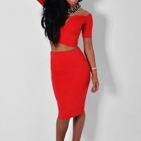 Allessia Red Boned Top & Midi Skirt Two Piece Set   Pink Boutique