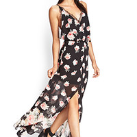 FOREVER 21 Rose & Lace Maxi Dress Black/Coral Large