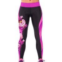 Wholesale Chic Cartoon Print Color Block Elastic Bodycon Yoga Pants For Women (BLACK AND ROSE RED,ONE SIZE(FIT SIZE XS TO M)), Gym Pants & Leggings - Rosewholesale.com
