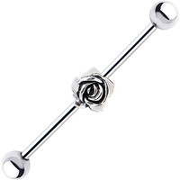 Surgical Steel Sterling Silver Rose Industrial Barbell Earring | Body Candy Body Jewelry