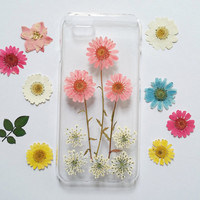 Pressed Flower iPhone 6 Case, iPhone 6 Case, iPhone 6 Plus Case Clear, Clear iPhone 6 plus Case, iPhone 6 Plus Case,pink daisy iphone 6 case