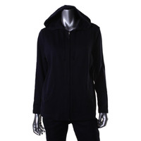 Karen Scott Womens Petites Full Zip Long Sleeves Hoodie