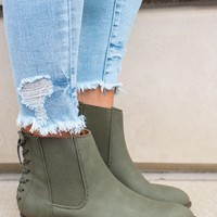 Chance Encounter Booties - Olive