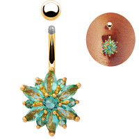 Turquoise crystal Sexy Belly Button Ring navel piercing ring 18K gold belly Navel ring piercing barbell body jewelry belly bars