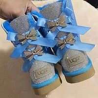 UGG New Diamond Bow Men's and Women's Baotou Slippers Boots Shoes Blue